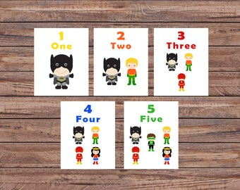 Flash Cards, Superhero, Number Cards, Learning Toys, Educational Toys, Printable Cards, Nursery Decor, Instant Download, Printable Download