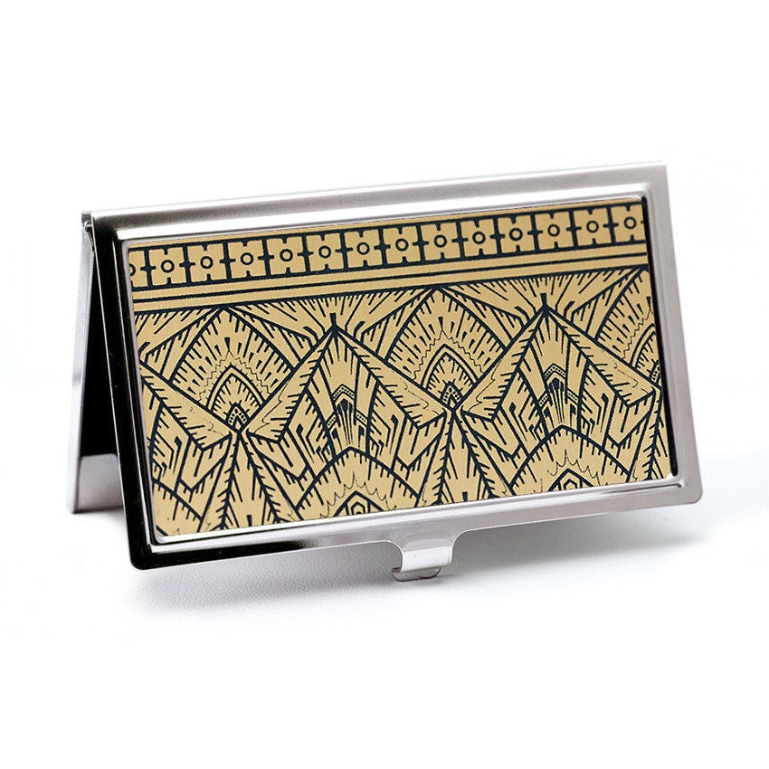 Empire Gold Business Card Holder Art Deco Geometric Gold and