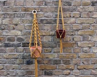Mustard Macrame Plant Hanger | Hanging Planter | Knotted Plant Hanger | Pot Hanger | Vintage Macrame 70s Style