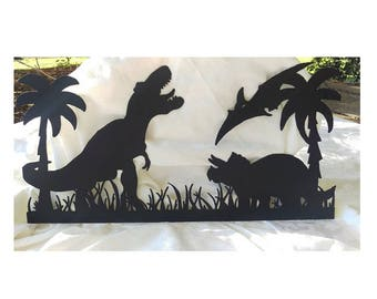 Metal Dinosaur Wall Decor, Dinosaur Sign, Dino Scene Sign, Dinosaur Metal Sign