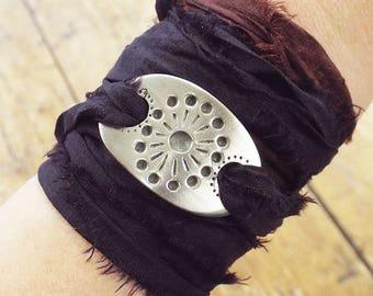 Dandelion Pewter and Silk Ribbon Wrap Bracelet