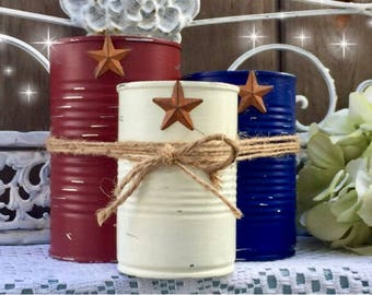 3 Rustic Americana Farmhouse Painted Tin Can Caddy Set Rusty Star & Removable Twine/Jute Patriotic Decorations 4th of July Independence Day