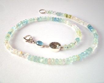 Precious stone necklace with aquamarine, prasiolite, noble Beryl, silver