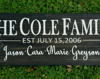 Family sign, family name sign, Family established sign, custom  family sign, wood sign, wood wall art, custom wood sign, custom sign, sign