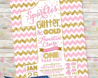 Pink Gold Glitter 1st birthday Invite, Pink and Gold, Sparkles Glitter and Gold, Printable Invite, Chevron with Glitter, One Year Old, DIY