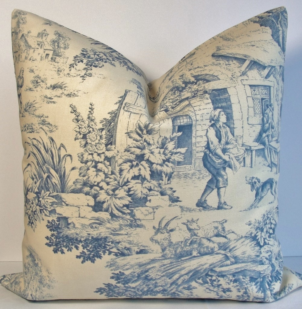 Blue Toile pillow cover English Country pillow Decorative