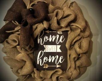 Home Sweet Home Burlap Wreath