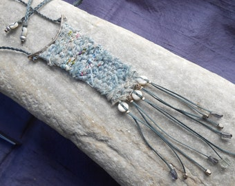 Silk Loom Woven Necklace with Gems & Sterling Silver ~ Mini Tapestry ~ handmade weaving in light blue ~ textile jewelry - fiber art necklace