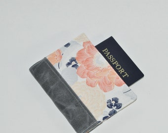 Floral Passport Wallet // Peony Print Travel Wallet - Passport Fauxdori Bullet Journal Cover - Gift for Her - Made to Order