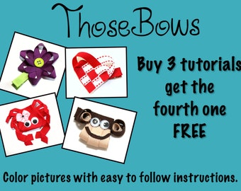 INSTANT DOWNLOAD Buy 3 Hair Bow PDF Tutorial E-Books get the fourth free