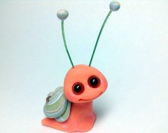 Peach and Seafoam Swirl Sparkle Snail Trollfling Troll Mini by Amber Matthies