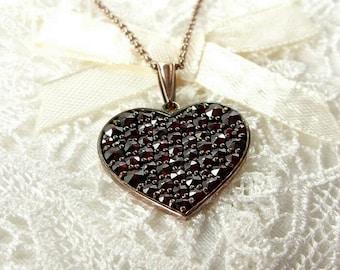 Medium large Bohemian garnet heart pendant || ГРАНАТ#PK