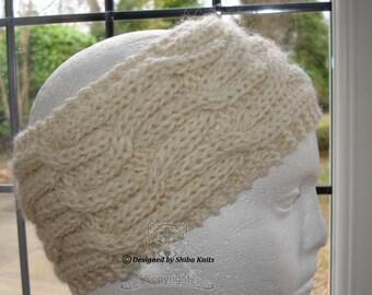 Knitted Ear Warmer, Cream Wool Headband, Wide Headband, Wool Ear Warmer, Knitted Headband, Cabled Ear Warmer, Chunky Headband, Aran Headband