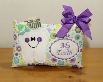 Girls tooth fairy pillow - Tooth fairy pillow - Personalized tooth pillow - Gift under 20 - Pocket pillow -Tooth Fairy Pillow Girls