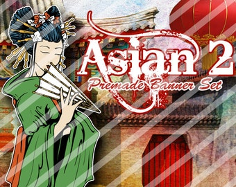 """Banner Set - Shop banner set - Premade Banner Set - Graphic Banners - Facebook Cover - Avatars - Bisiness Card - """"Asian 2"""""""