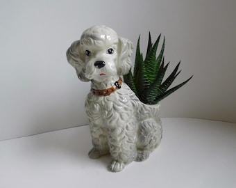 Vintage poodle planter Dog planter Gray poodle