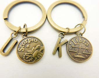 Best Friends zodiac Scorpio Libra initial monogram keyring keychain