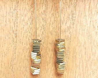 Stacked Metallic Hematite Beads on 14k Gold Filled Lever Back Earrings