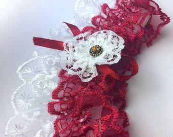 Lace Garter Wedding Garter Red White Floral Garter Lace Garter Bridal gifts Bridal Garter gift