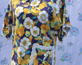Beachy cover up seventies floral towel fabric T top