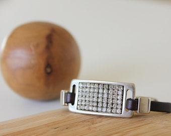SWAROVSKI BRACELET, Women leather bracelet, fashion jewelry, leather bracelet, women gift, accessories for women,  gift for her, women gift
