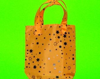 Halloween Stars Orange and Black Printed Kitsch Goth Punk Classic Bucket Style Purse Tote