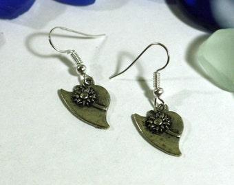 Womens Gardening Hat Silver Charm Earrings - Garden Charms