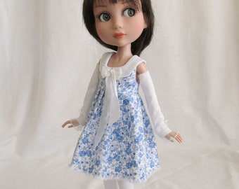 "Patience Tonner Kaye Wiggs 14"" BJD fashion by JEC blue & white dress outfit with white leggings"