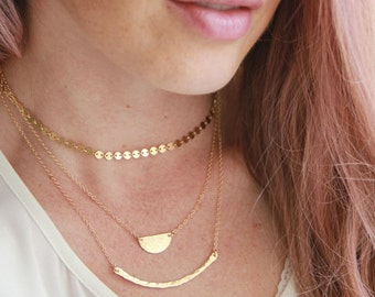 Half Circle Hammered Necklace, Gold Necklace, 14kt Gold filled Necklace, Initial necklace, Hand stamped, Gold Necklace, Nameplate Necklace