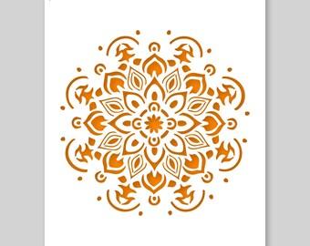 "Mandala Stencil - plastica o carta - A3 42 x 29,7 cm / 16.5"" x 12"" - è Mandala Ø cm 25/10""- stencil pittura, artigianato, parete e mobili"