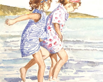 Children playing in the sea original watercolour