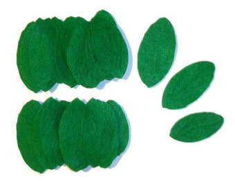 Green leaves, long leaves, flower leaves, green leaf, embellishment, felt embellishments, premade leaves, felt leaf, leaves, felt leaves