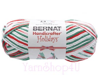 2.8oz MISTLETOE OMBRE. Bernat Handicrafter Holidays Yarn. White Red Green Christmas 100% Cotton Yarn. 2.8oz Bernat Mistletoe Cotton Yarn. <