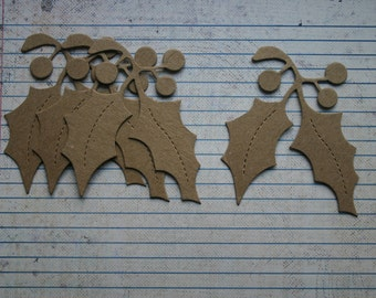 4 Bare chipboard die cuts holly leaves with berries diecuts