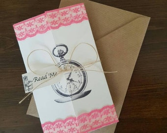 25 x Premium Vintage Style Ivory Alice in Wonderland Invitations with Coloured Lace!