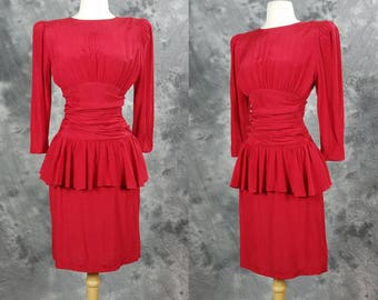 Red peplum wiggle dress, long sleeve, rayon All that Jazz, ruched, hour glass, bombshell dress, Small