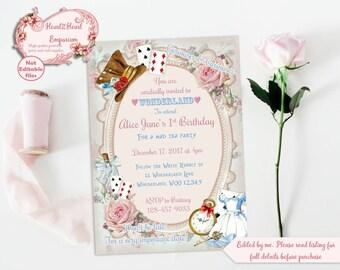 Alice in Wonderland Invitation, Onederland Invitation, Printable Invite, Alice Birthday, Wonderland Invite, Digital Alice in Wonderland
