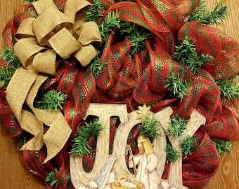 Mesh Nativity Wreath Door Hanger