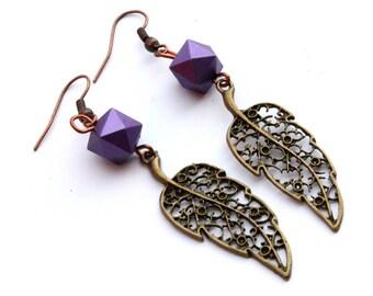 Violet brass earrings Simple earrings Violet brass earrings Brass earrings Elegant earrings Unique earrings Christmas gift Gift for her