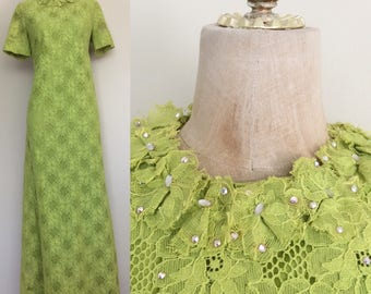 1970's Vibrant Lime Green Lace Maxi Dress Size Medium Large by Maeberry Vintage