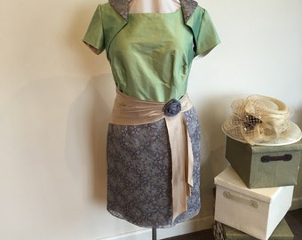 For wedding, Mother of the Bride/groom silk tea dress & shrug/jacket.  Wedding guest, races, special occasion.