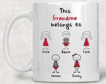 Personalized Grandma Mug, Grandma Coffee Mug, Personalized Grandma Gifts, Grandma Mug, Grandma Gift, Grandmother Gift, Grandmother Mug