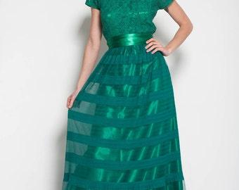 Vert émeraude robe longue robe de fête maxi robe cocktail étage robe de soirée  vert robe