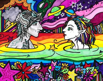 Just Us - Psychedelic Fairies Print