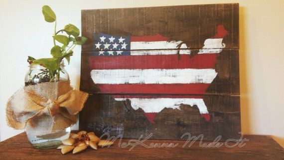United States Flag Wood Sign Americana Decor Red White And