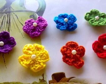 10 Mini Rainbow Crochet Flowers, Crocheted Cherry Blossoms, Tiny Crochet Flowers, Crochet Embellishments, Flower Appliques, Crochet Applique