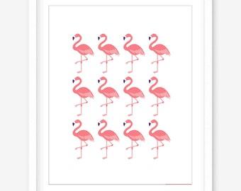 Printable flamingo wall art - flamingo print - printable art - living room art - printable modern art - flamingo art - DIGITAL DOWNLOAD