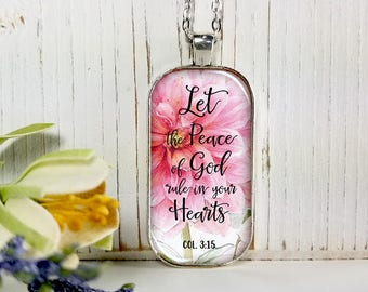 Let The Peace Of God Rule In Your Heart-Large Rectangular- Glass Bubble Pendant Necklace