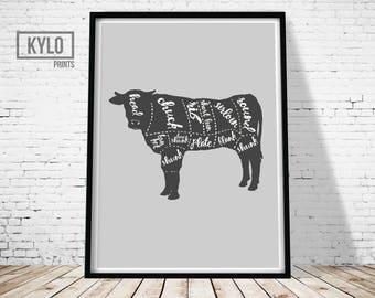 Butcher Diagram Print, Butcher Poster, Meat Print, Meat Poster, Beef Print, Cow Art Print, Butcher Wall Art, Kitchen Poster, Kitchen Print