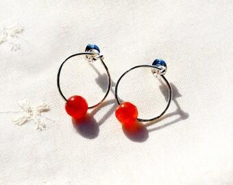 Gem Stone Earrings Carnelian Earrings Silver Earrings Stud Earrings Silver Jewelry Post Earrings Orange Modern Circle Earrings Free Shipping